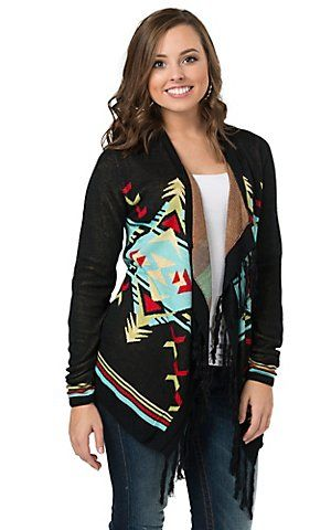 Rancho Estancia Women's Black Multicolor Aztec Print Sweater Cardy | Cavender's