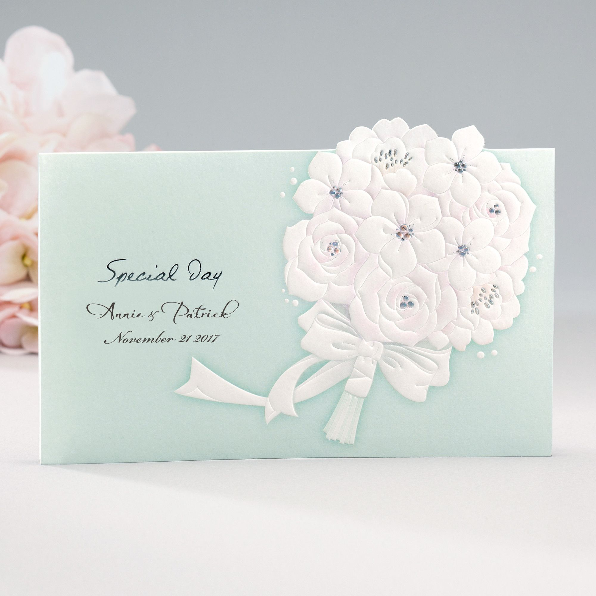 Mint Embossed Floral Elegant Wedding Invitations - Cho 1813 ...