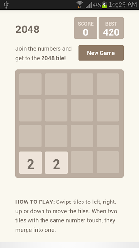 Most addictive Mobile version of 2048 game and almost perfect 2048 number puzzle game for Android...! <br>Explore deep challenge for your mind...!<br>-Instructions-<br>Swipe to move the tiles, when two tiles with the same number touch, they merge into one. <br>Example: 4+4=8 ... 2+2=4 ... <br>When a 2048 tile is created, the player wins...<br>Hope you all enjoy it ...!  http://Mobogenie.com