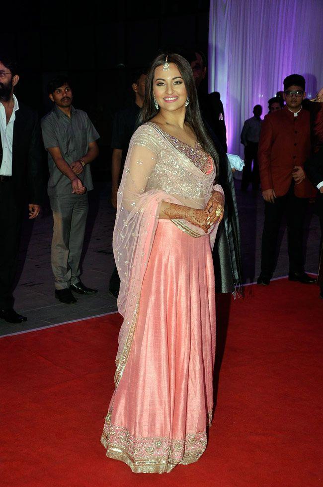 5748552110 Sonakshi Sinha at her brother Kush Sinha's wedding reception ...