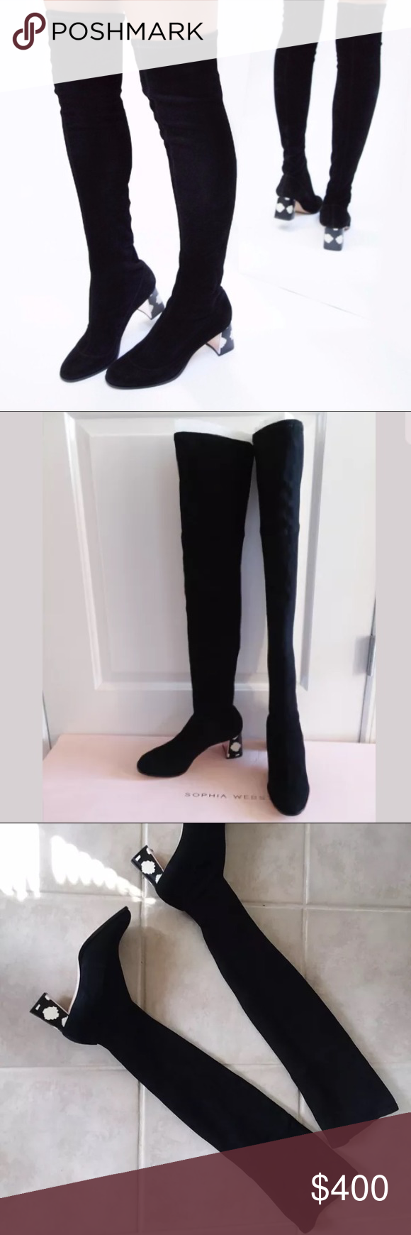 a1cb3b6933f Sophia Webster OTK Suranne Suede boot  895 NEW! Sophia Webster stretch suede  over-the