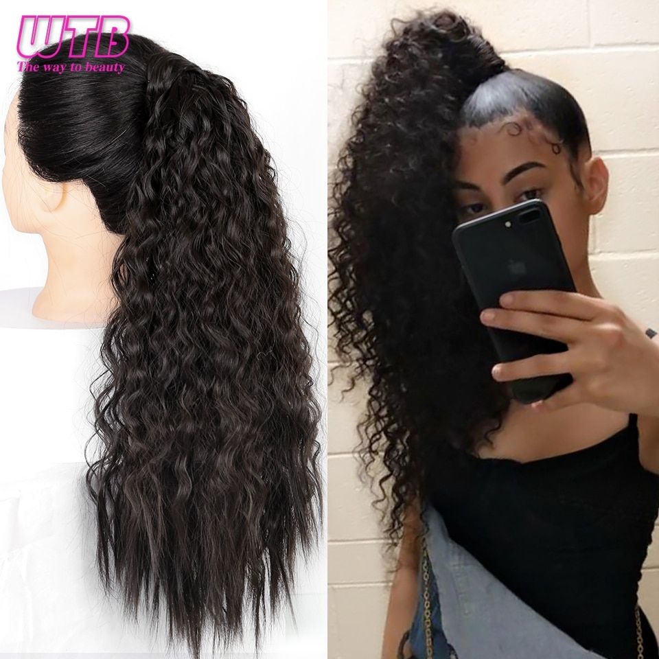 Wtb Long Corn Curly Synthetic Ponytail Wrap On Clip Hairpieces For Women Black Brown Hair Tail False Hair In 2020 Black Brown Hair Hairpieces For Women Hair Pieces