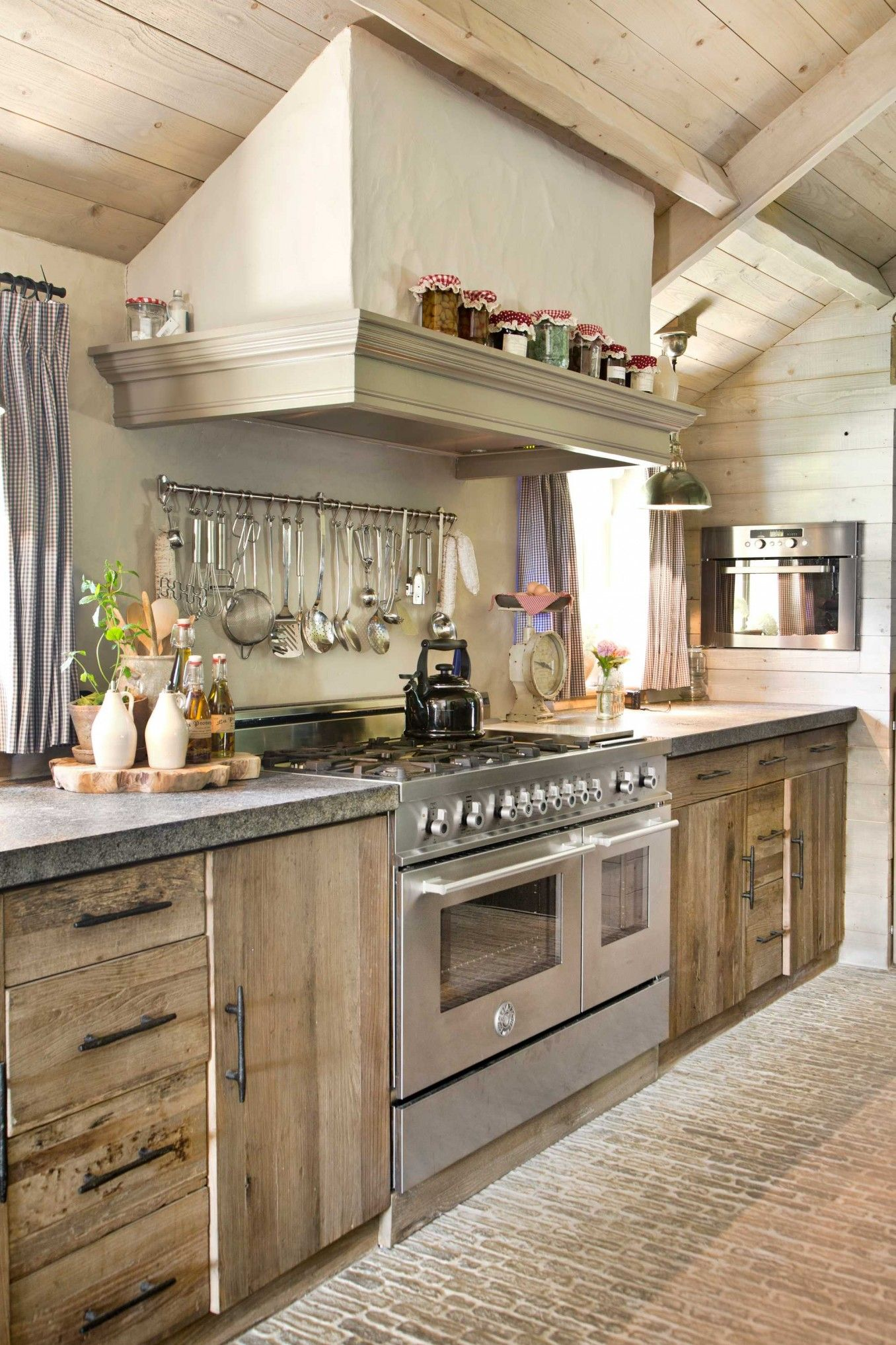 Natural Wood Kitchen With Stainless Steel Appliances And
