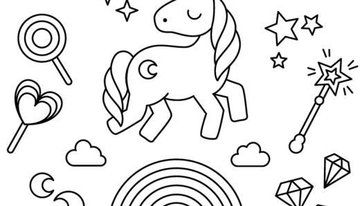 Cute My Little Unicorn: 5 different coloring pages to ...