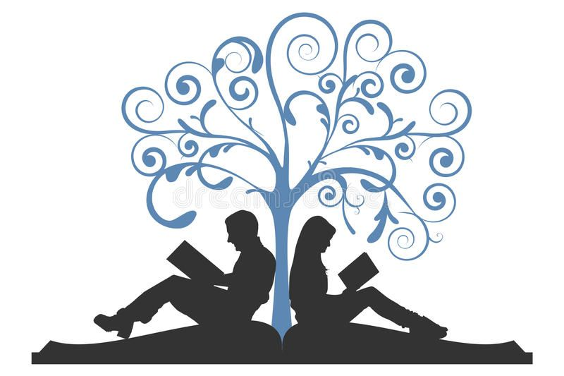 Stickman Illustration of Kids Reading Books While Sitting on Tree Branches  | Kids reading books, Kids reading, Books to read
