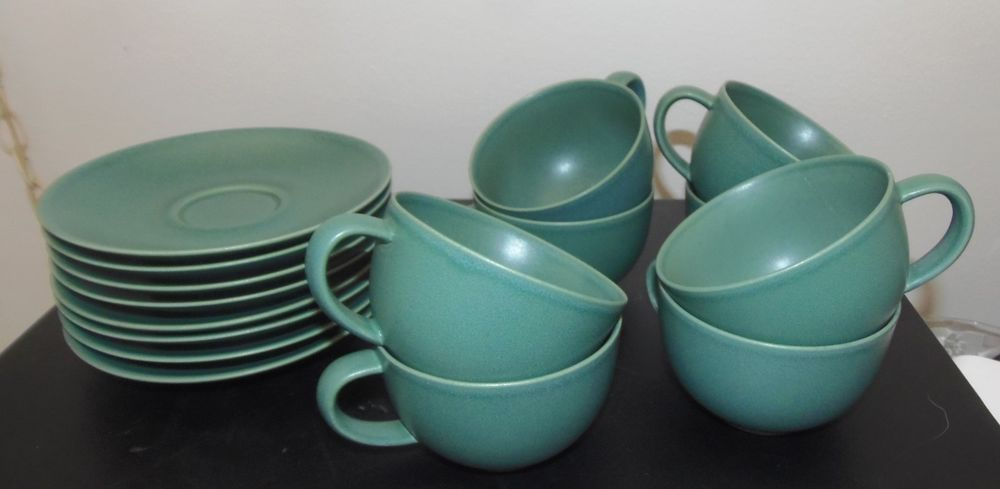Details about Arabia 24h Matte Green Tea Cups & Saucers