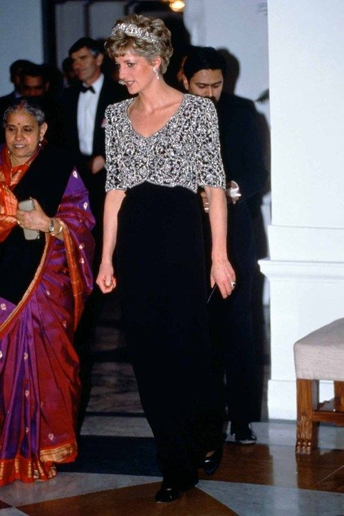 Princess Diana Wearing A Catherine Walker Dress During A Visit In