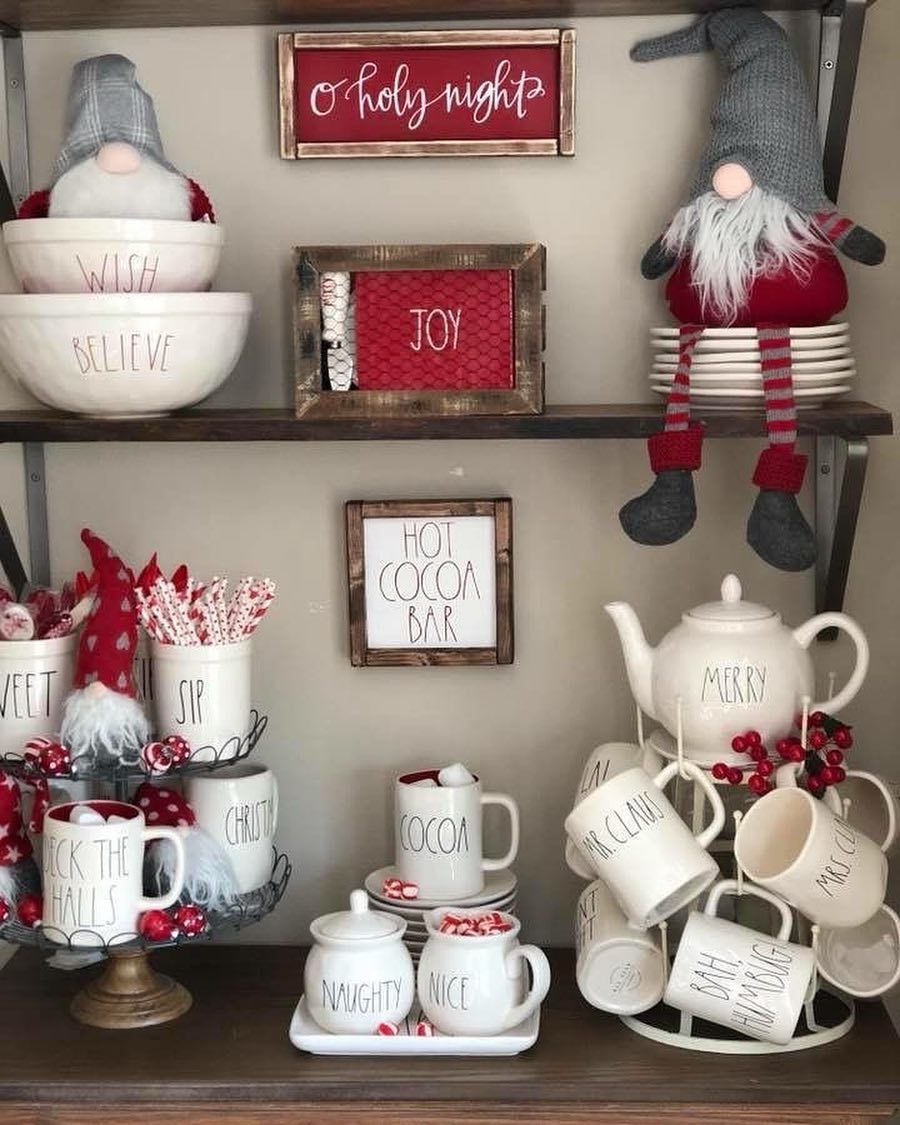 333 Likes 22 Comments Mygatheredgrace Mygatheredgrace On Instagram Well Hello Rae Dunn Ch White Christmas Decor Christmas Display Christmas Decorations