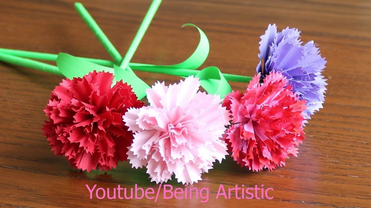 Easy Way To Make Carnation Paper Flower Diy Paper Craft Youtube Paper Flowers Diy Paper Flowers Paper Flowers Craft