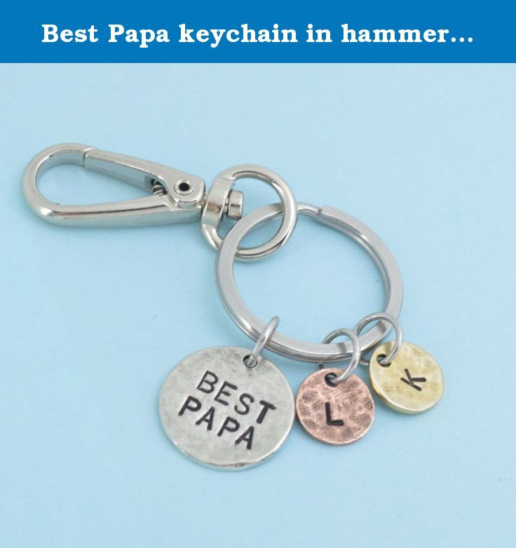 Best papa keychain in hammered pewter personalized with