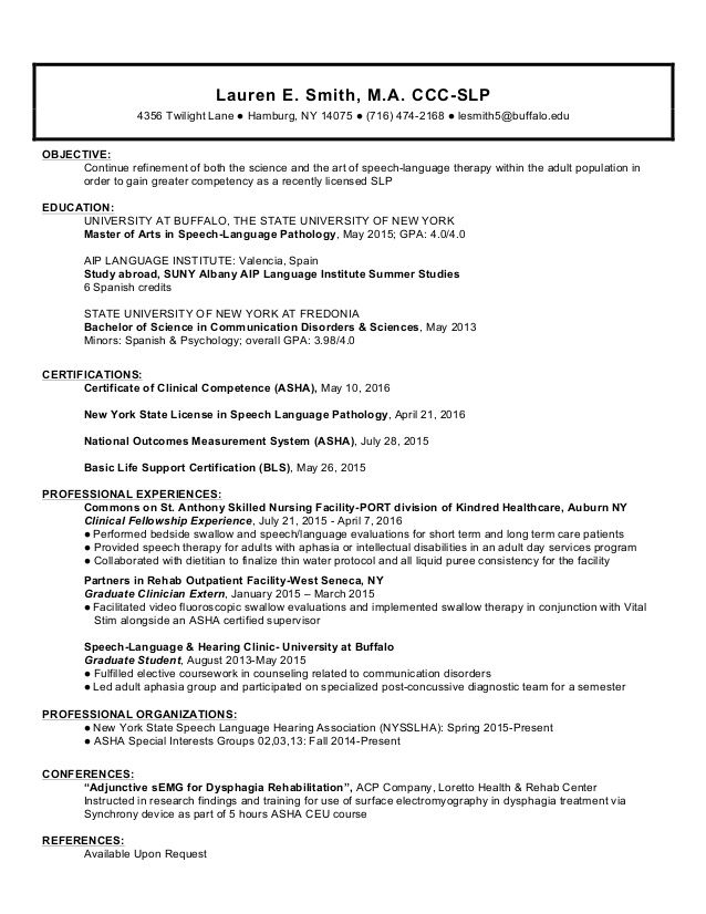 SLP Resume Example