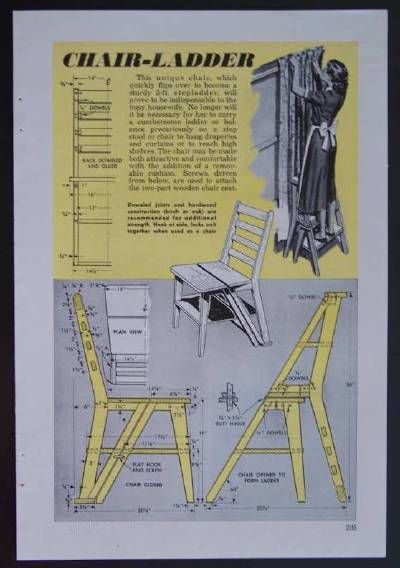 Chair Ladder 1952 Howto Build Plans Modern Eames Style