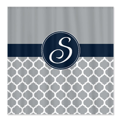 Custom Quatrefoil Shower Curtain Personalized With Monogram Initial Navy Blue Grey White OR Choose Colors Standard Or Extra Long