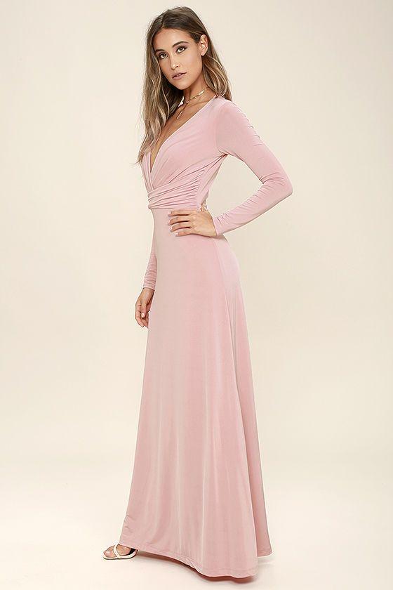 f6bcfad62ec Chic-quinox Blush Pink Long Sleeve Maxi Dress