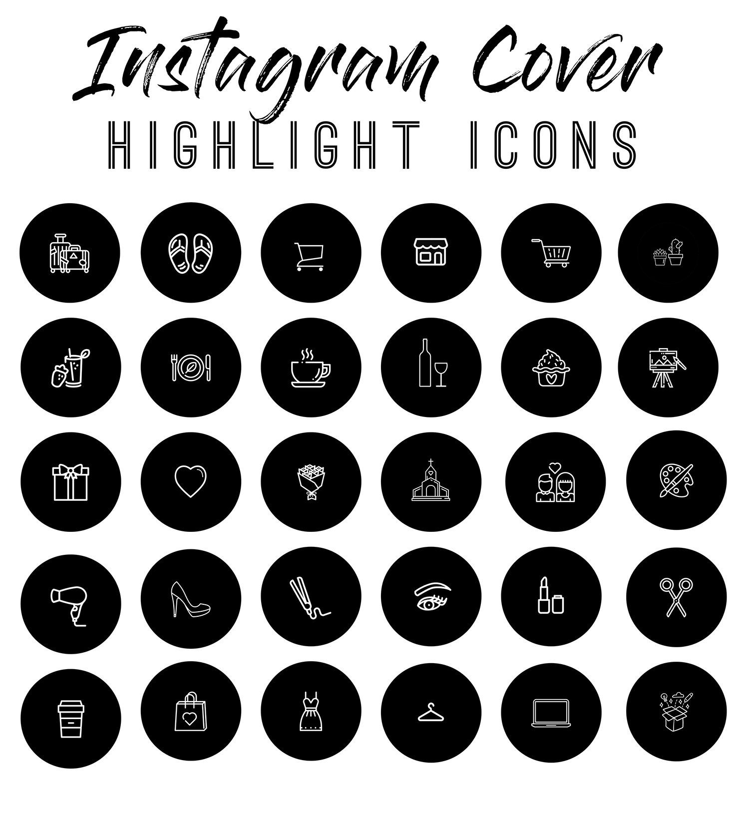 Instagram Story Highlights Icons Set of 57 Instagram Icons