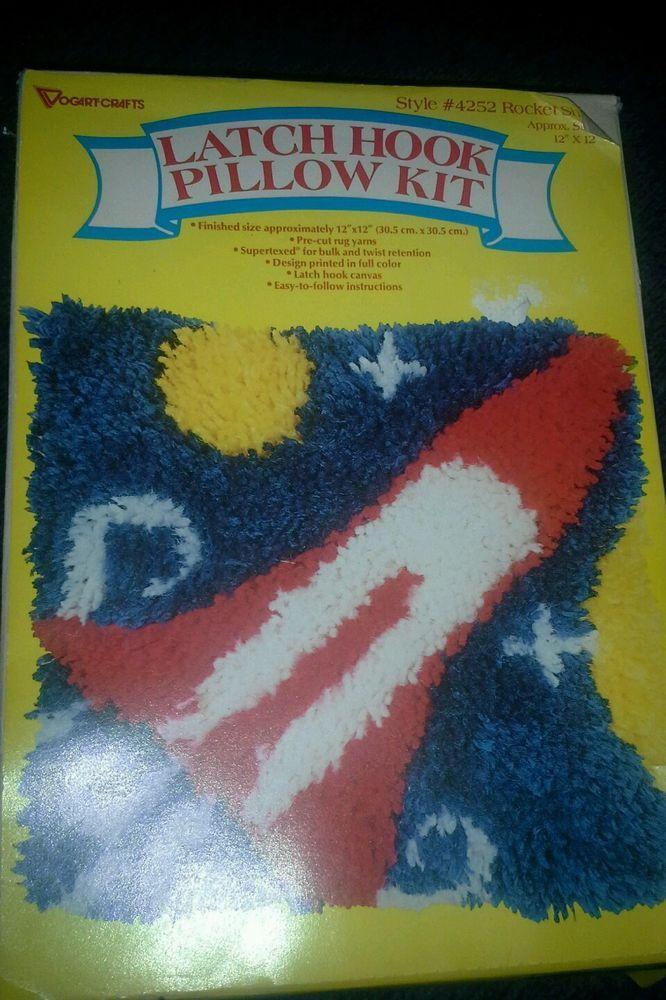 Vintage Latch Hook Pillow Kit Rug Rocket E