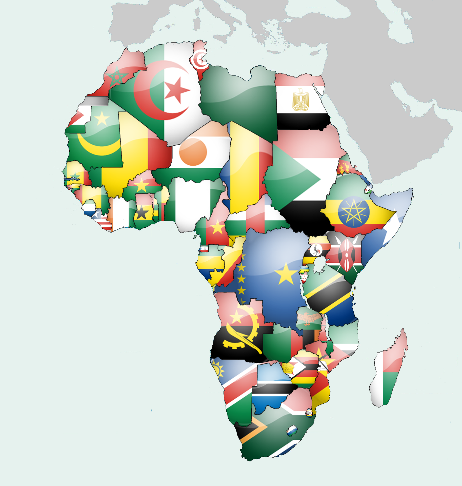 Map Of Africa With Flags.Africa Flag Map Marketing Africa Map Africa Flag African Union