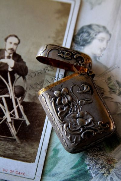 Antique, French match container ~ love all the beautiful details~❥