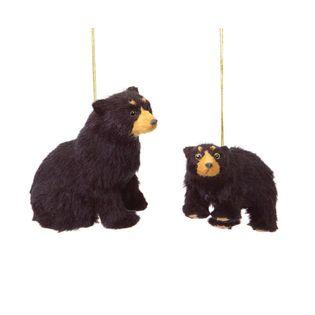 rustic lodge furry black bear christmas ornaments - Black Bear Christmas Decor