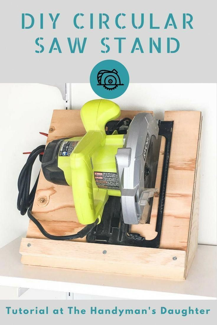 This circular saw storage rack is quick and easy to make with scrap  plywood. Get the tutorial at The Handyman's Daughter!