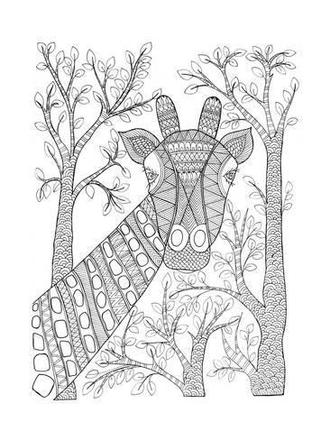 art print animal giraffe 2neeti goswami  24x18in