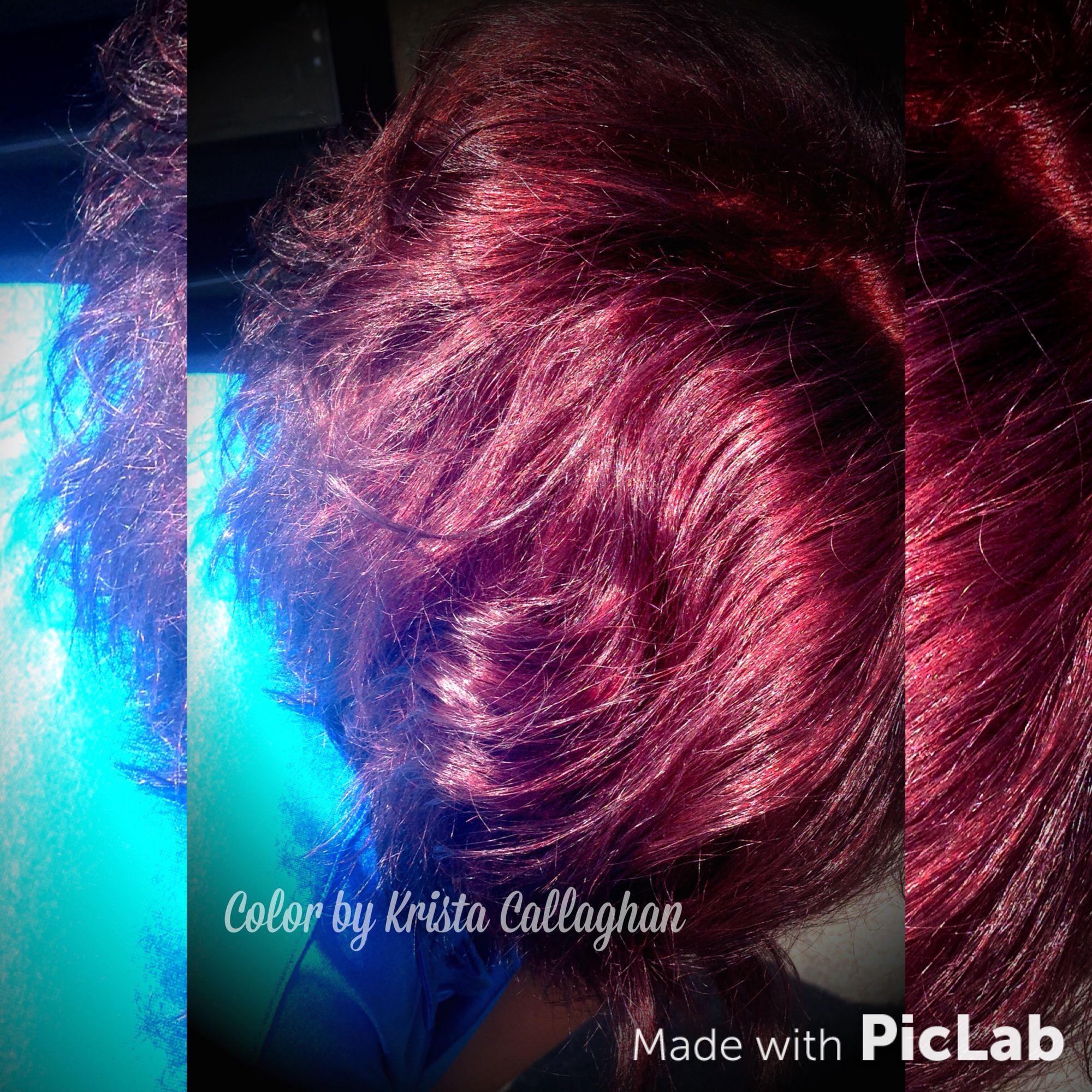 Red violet hair color, shiny color, short hair #sugarnspicesalon #hair #amazinghair #rusk #richhaircolor