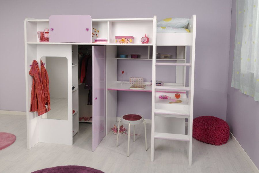 kinderzimmer m dchenecke hochbett mit kleiderschrank schreibtisch 90x200 yasmin parisot amazon. Black Bedroom Furniture Sets. Home Design Ideas