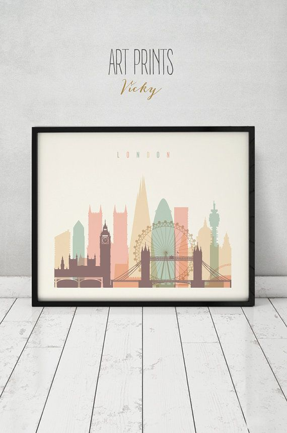 London Art Print, Poster, Wall Art, Cityscape, London Skyline, City Poster,  Typography Art, Gift, Home Decor Digital Print, ArtPrintsVicky