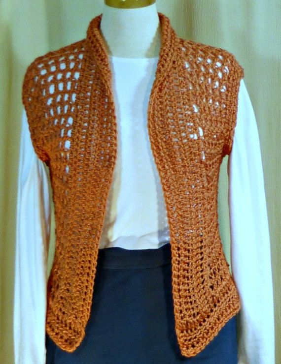 Crocheted mesh vest in coral by WearablesByAC on Etsy