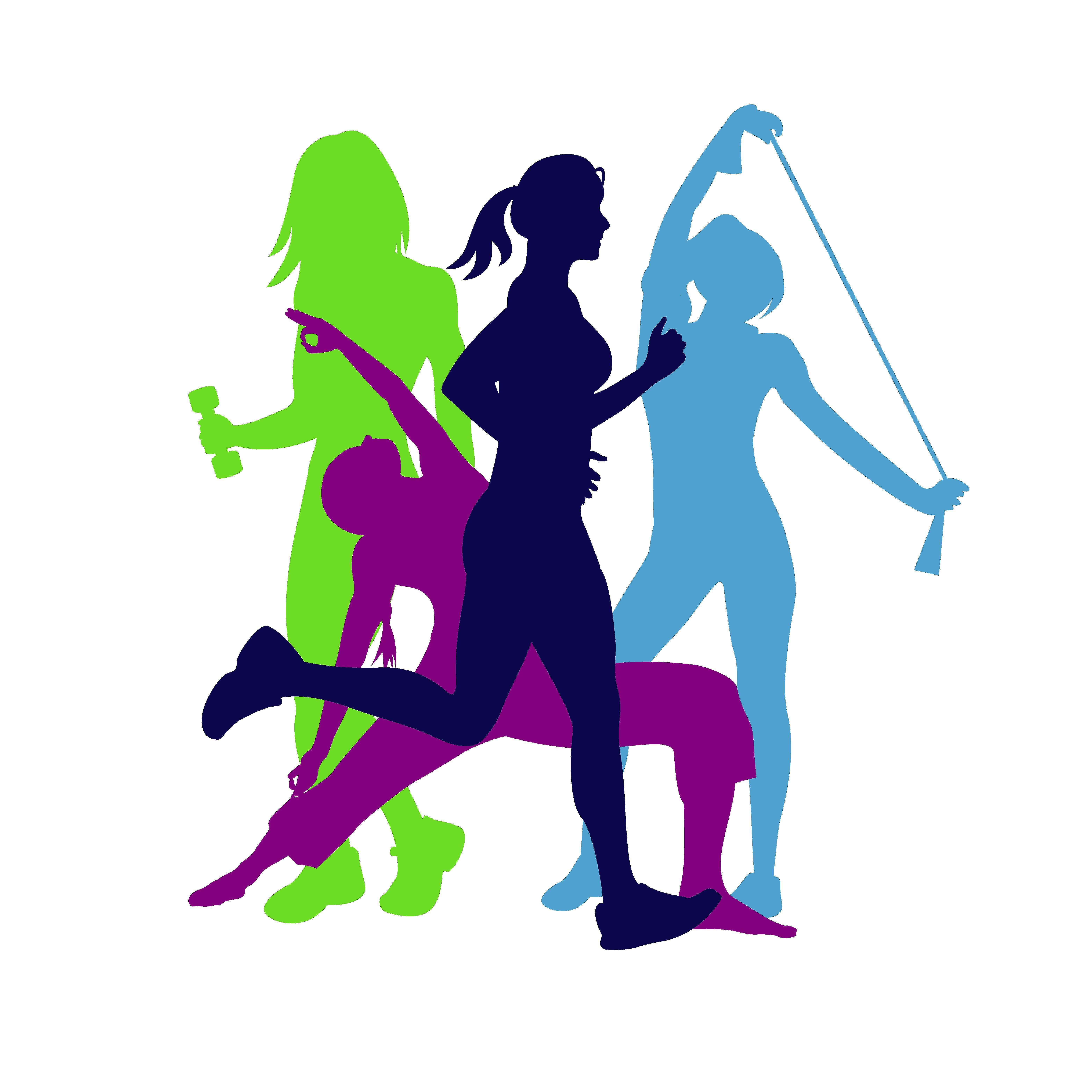 Fitness Emblem Woman Silhouette Gym Art Fitness Art Woman Silhouette