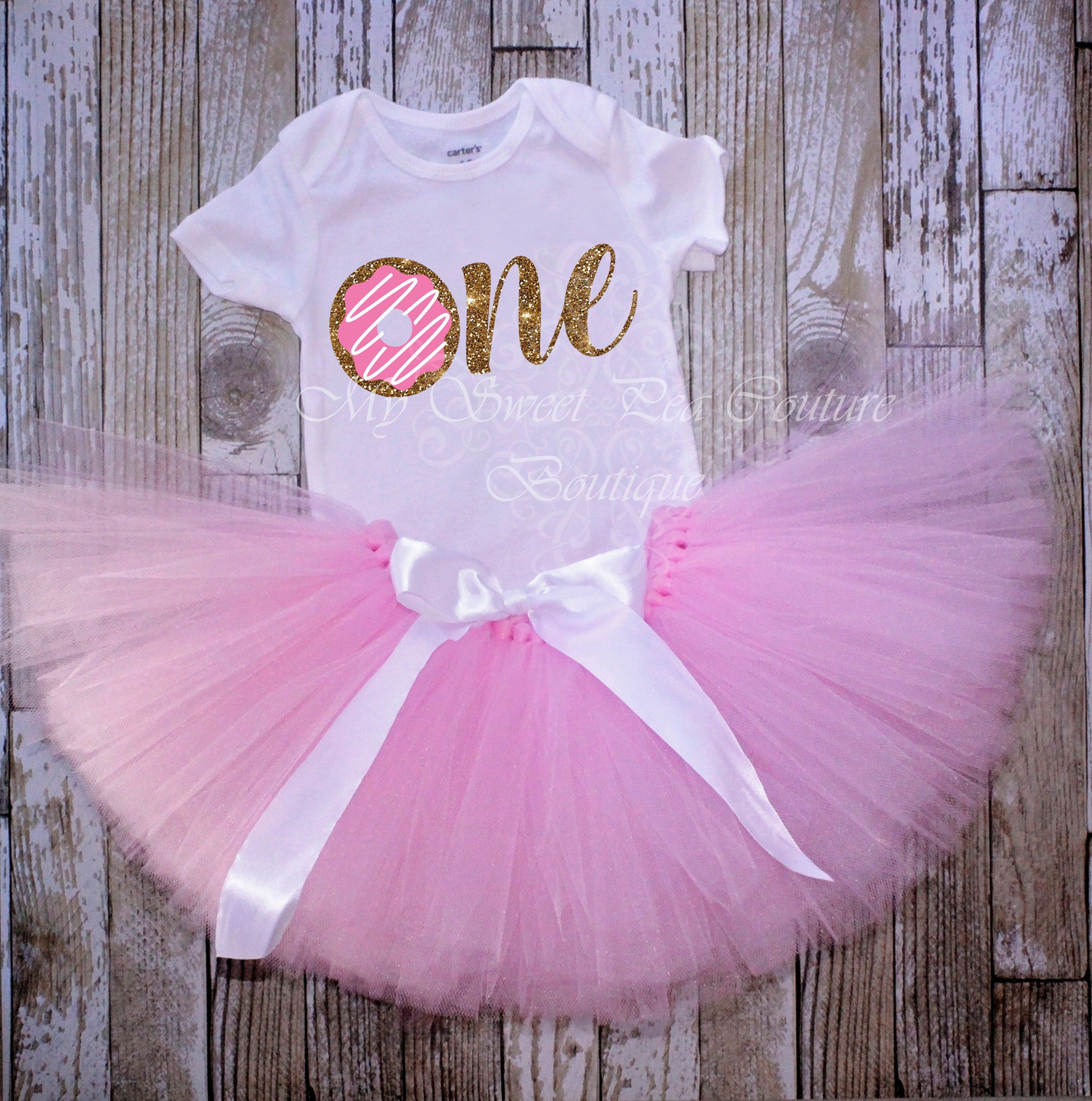 Donut First Birthday Outfit  FREE SHIPPING Sweet One Birthday Shirt Donut Birthday Pink 1st Birthday Dress Cake Smash Outfit