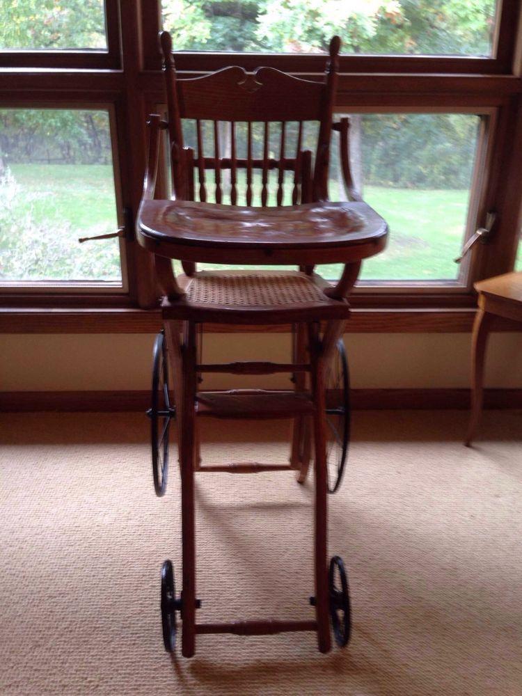 Antique 1900 S Baby Highchair Stroller Convertible Wheels Cane Seat Baby High Chair Chair High Chair