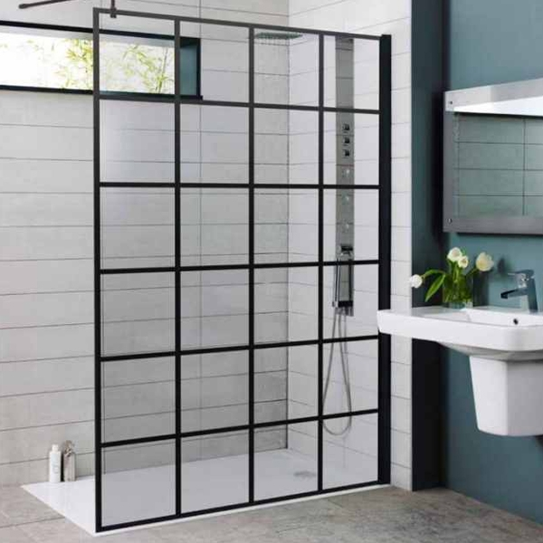 Prestige Krittal Wet Room Screen With Support Bar 1200mm Wide 8mm Glass Wet Room Screens Wet Rooms Walk In Shower Enclosures