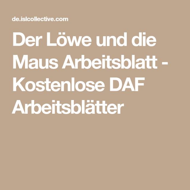 Der Löwe und die Maus Arbeitsblatt - Kostenlose DAF Arbeitsblätter ...