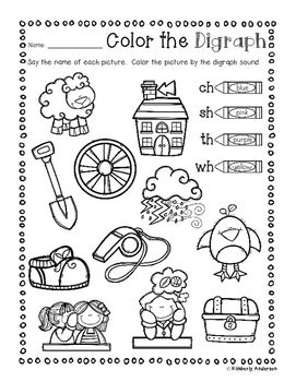 No Prep Digraphs Coloring Picture Match Activity Sheets Ch Sh