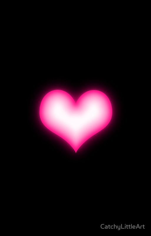 Shiny Pink Heart On Black Background Iphone Case Cover With