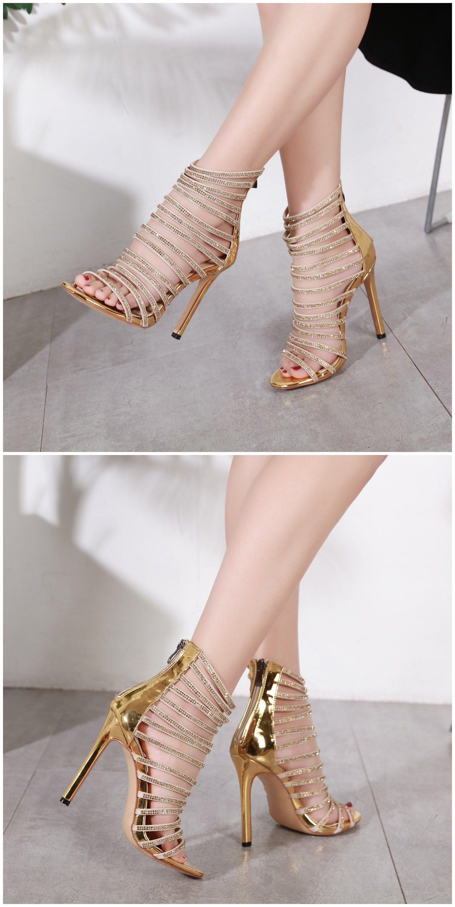 7def95db7351 Rhinestone Lace Buckle Gold Heels Sandals for Women  tbdressreviews   reviewstbdress  womanfashion  Sandals  highheels