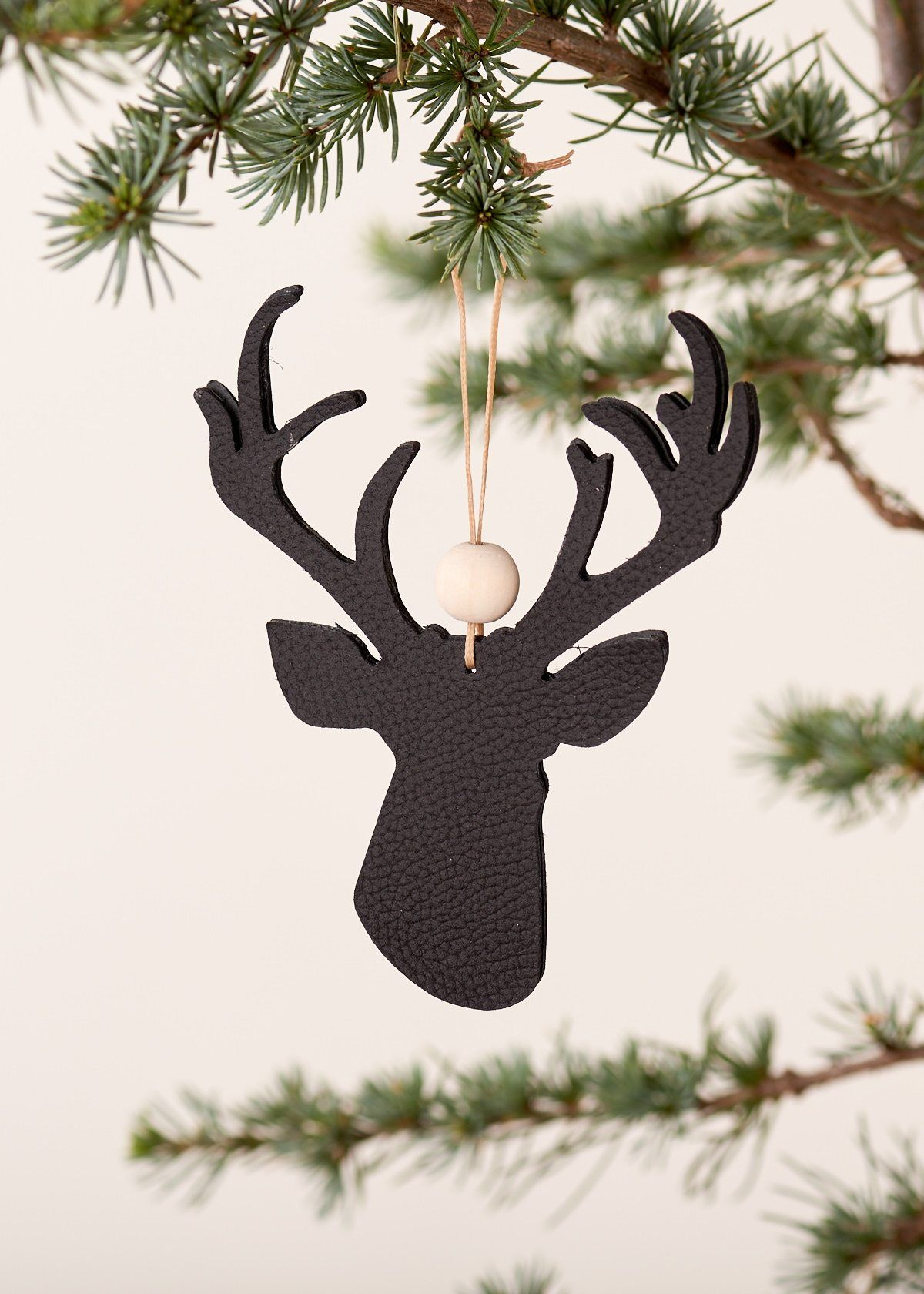 Handmade Christmas Ornament Leather Reindeer Black With Wooden Beads Simple Scand Scandinavian Christmas Decorations Scandi Christmas Scandinavian Christmas