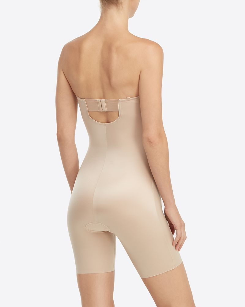 Suit Your Fancy Strapless Cupped Mid Thigh Bodysuit Strapless Shapewear Shapewear Bodysuit Women S Shapewear