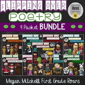 Do you want a fun way  to introduce poetry to your students. Students will learn a new original poem each week. Using a simple COPY, FOLD, & STAPLE method you will create a book that your students can use to work on the poem of the week. Each poem comes with a color version to display, a smaller version for your student to either take home or glue in a notebook, and a flip book with 5 activities to go along with the poem.