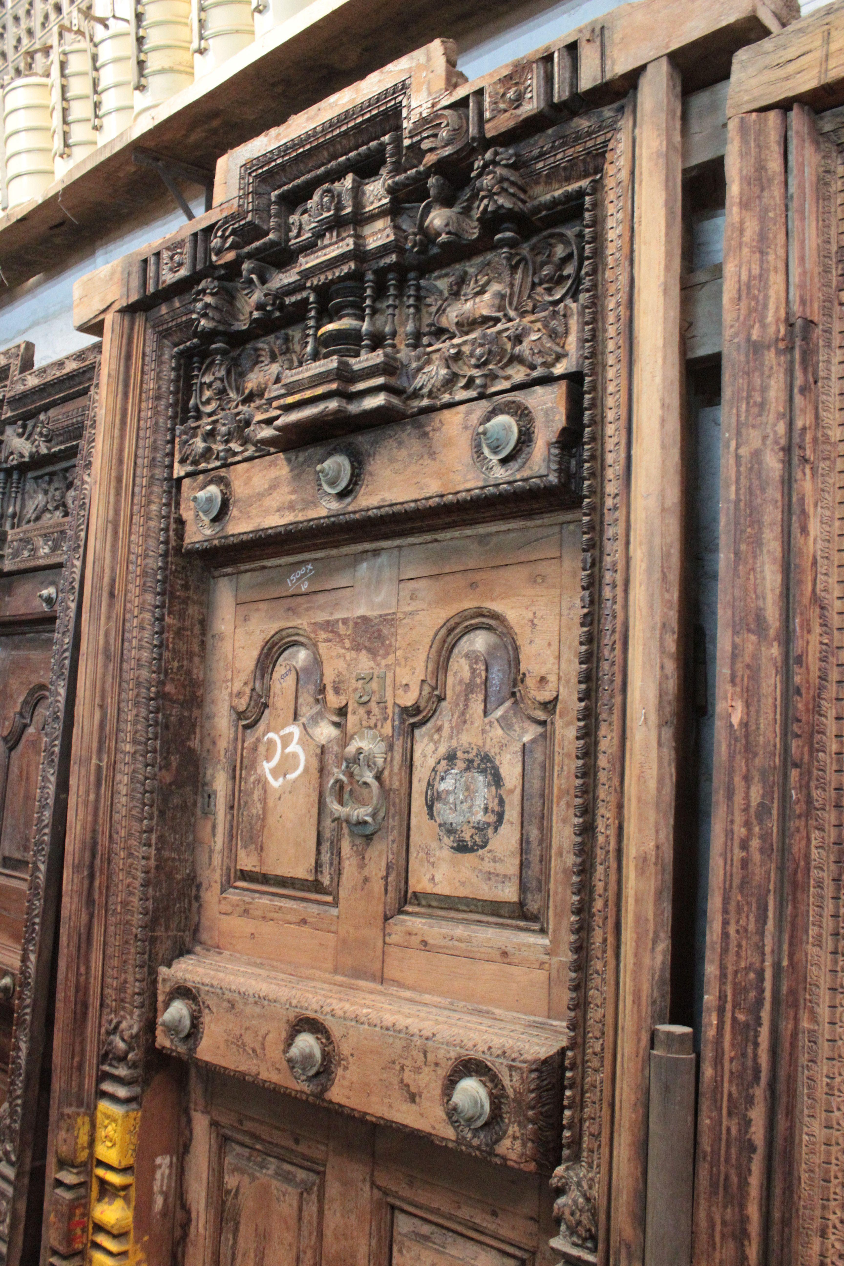 Old Wooden Madrasi Door Vintage Collectible Piece