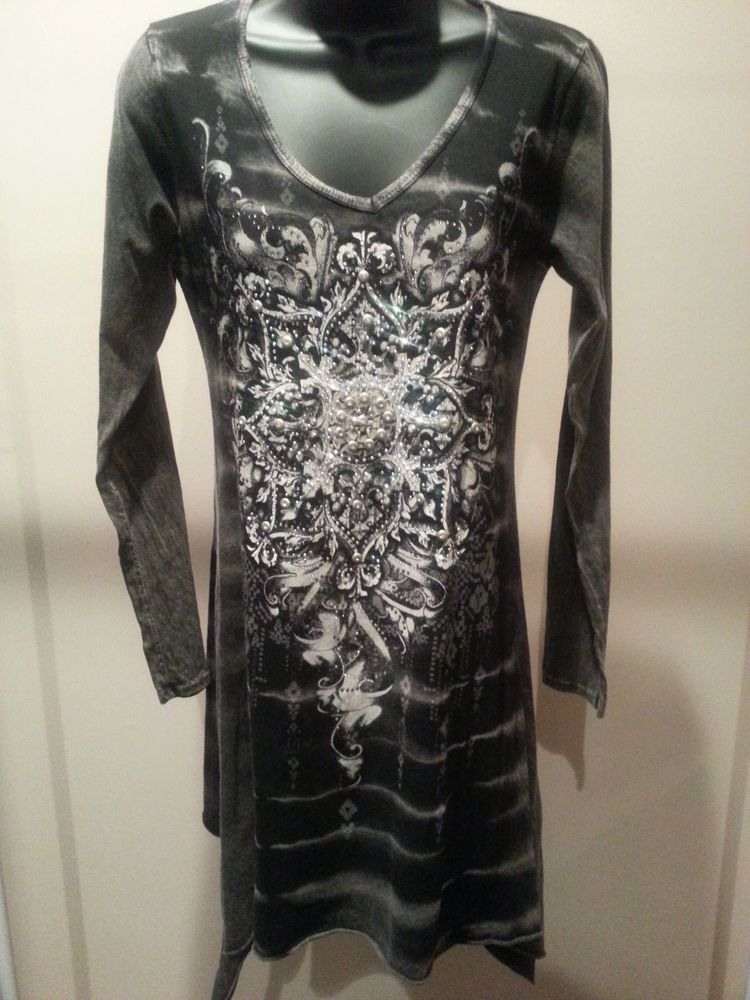 e2a07b3f606 Vocal Rhinestone Bling Design Tunic Dress on Front Back Special Dye  NEW    Vocal  Tunic
