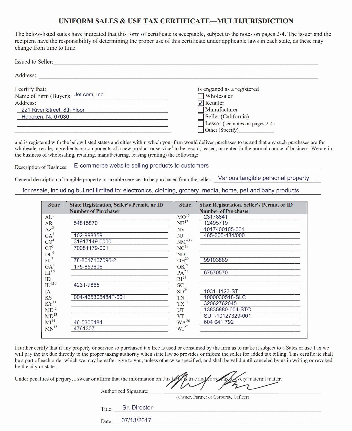20 California Resale Certificate Template In 2020