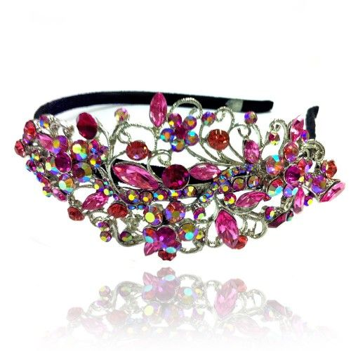 Prom Collection Crystal Romance Head Band Hot Pink Flower - 4EverBling