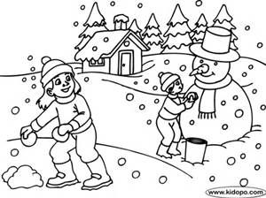 Kids Playing Snow Coloring Page With Images Coloring Pages