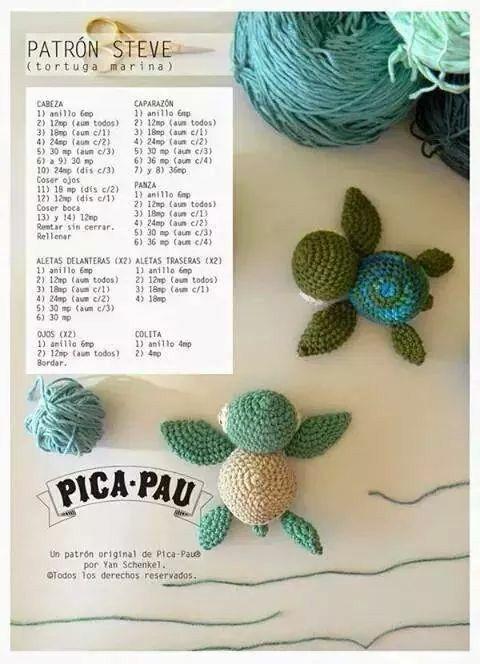 Tortuga marina amigurumi patron | Amigurumi | Crochet, Crochet ...