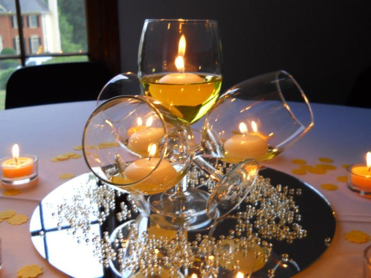 Elegance With Wine Glasses And Candles Perfect Vintage Centerpiece Yellow Centerpieces Party Centerpieces Surprise Party