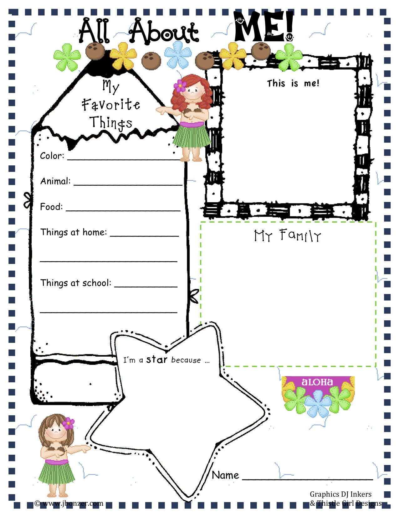Free preschool all about me worksheets free preschool for About me template for students