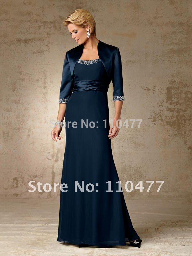 New Arrival Chiffon Long Navy Blue Mother Of The Bride Dresses With Jacket Bolero Elegant Beaded Fm339