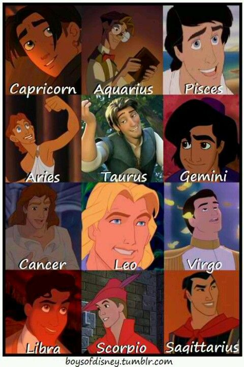 Image result for disney prince zodiac signs